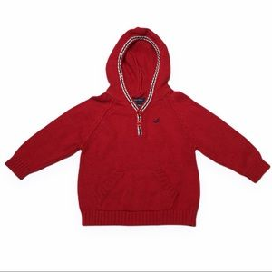 NAUTICA  Red Kangaroo Pocket Hooded Sweater